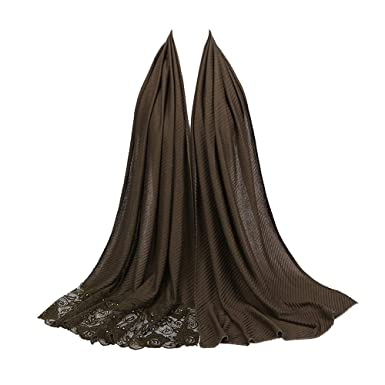 c843ea2f57c9 Rovinci Mode Femmes Dames Couleur Unie Coton Écharpe Dentelle Piqûre Perle  Décoration Musulman Doux Emballage Foulard