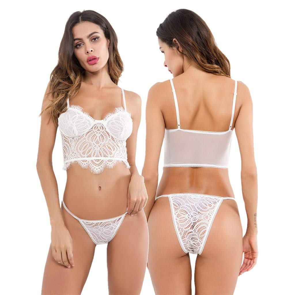 e31acdf3b3 Amazon.com  Women s Lingerie Sexy Lace Bra Panty Set Sheer Babydoll 2 Piece  Mini Bodysuit Outfits  Clothing