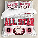 Kids Duvet Cover Set Queen Size by Ambesonne, College Baseball Softball Player League All Star Big Team Badge Champion Sports Themed Decorations, Decorative 3 Piece Bedding Set with 2 Pillow Shams,