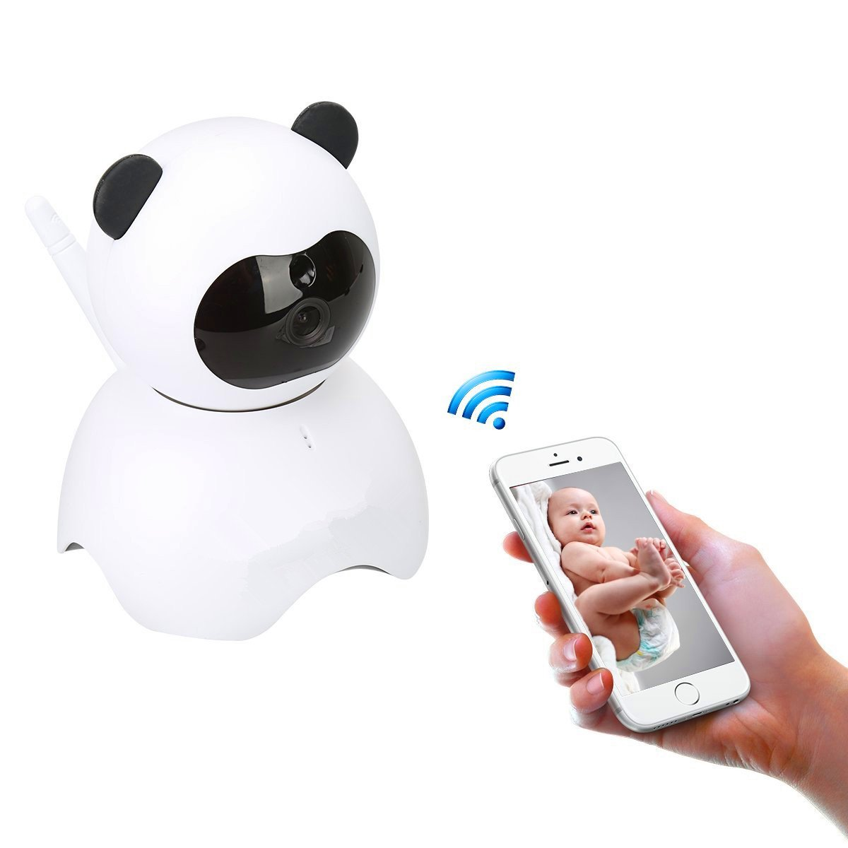 EsiCam Baby Monitor Wifi Hidden Camera Nanny Camera for Smart Phone, Toy Panda for Kids Pet Care HD 720P Pan Tilt Motion Detection Alarm Recording Two-way Audio Night Vision SD Card P2P Cloud Account