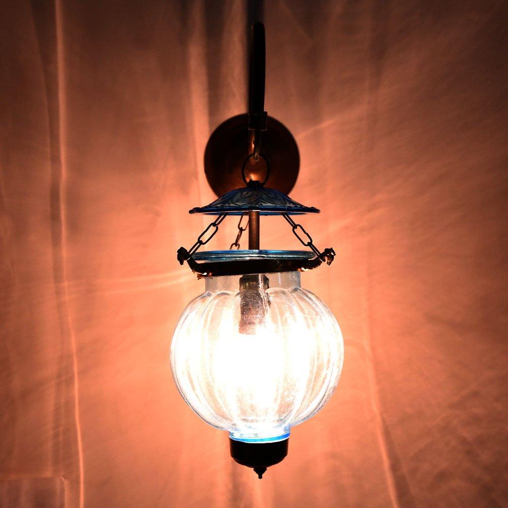 Handmade Vintage Light Blue Melon Shaped Glass Wall Sconces Hanging Lamp Lighting Bronze Bracket