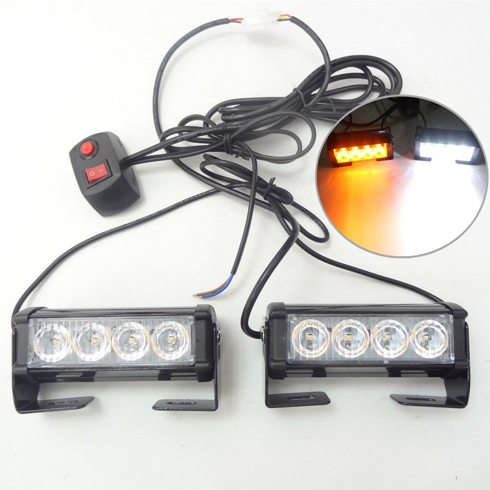 2pcs 4 Led Strobe Lights Emergency Flasher 7 Flash Modes Powerful Waterproof Dustproof And Easy To Install For Truck Auto Van Etc Automotive