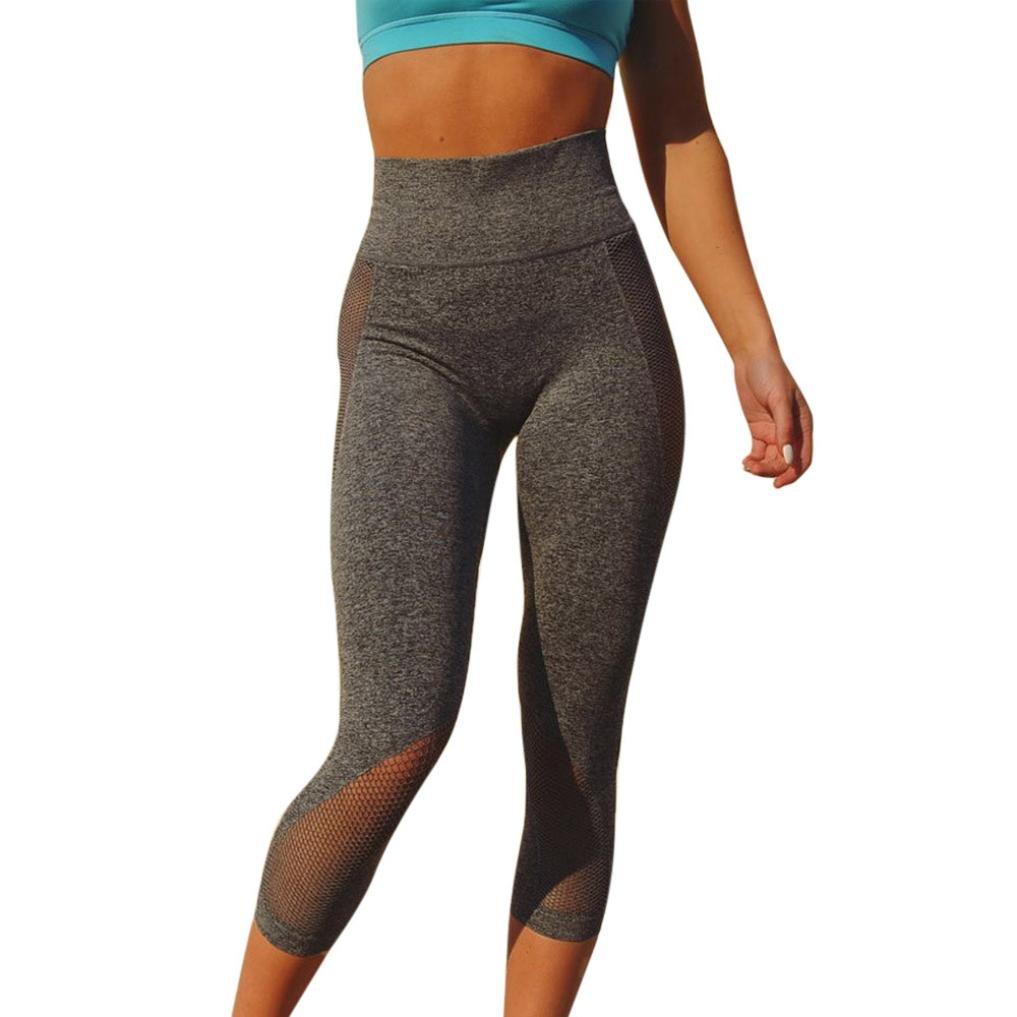 Yoga Pantaloni da Donna,Sonnena Pantaloni da Yoga con Cuciture a Maglia da Donna Pantaloni Sportivi Sette Leggings Leggings per Allenamento per Donna Sport per il Fitness (S, Grigio)  Grigio
