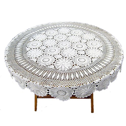 Amazon Com Kepswet Floral Cotton 48 Inch Round White