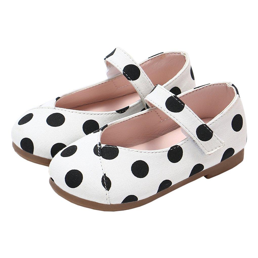 Toddler Little Girls Polka Dot Mary Jane Slip-on Ballerina Flats Dress Shoes White Size 22