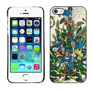 For iPhone 5 / 5S - Funny Comic Superhero Battle /Modelo de la piel protectora de la cubierta del caso/ - Super Marley Shop -