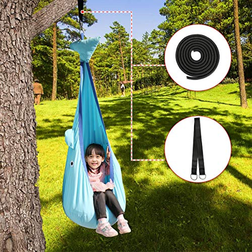 NEDVI Child Hammock Pod Swing Chair 100% Cotton Kids Swing Outdoor Swing Hanging Seat Hammock Nest Outdoor and Indoor Cuddle Hammock for Children with ADHD, Aspergers Sensory Integration