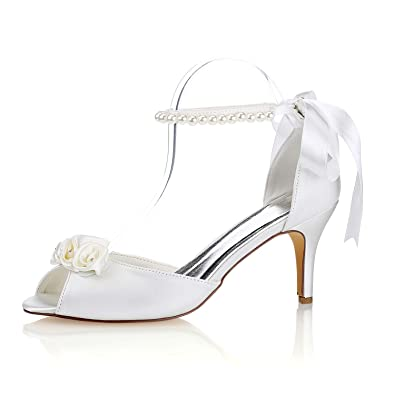 ff8a919fd Emily Bridal Silk Wedding Shoes Ivory Peep Toe Bow Pearls Ankle Strap Bridal  Shoes (EU35