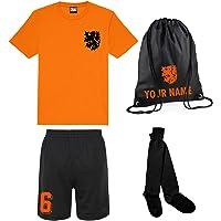 Print Me A Shirt Conjunto de Fútbol Naranja y Negro Selección de Holanda Personalizable para Niños, Camiseta, Pantalones…