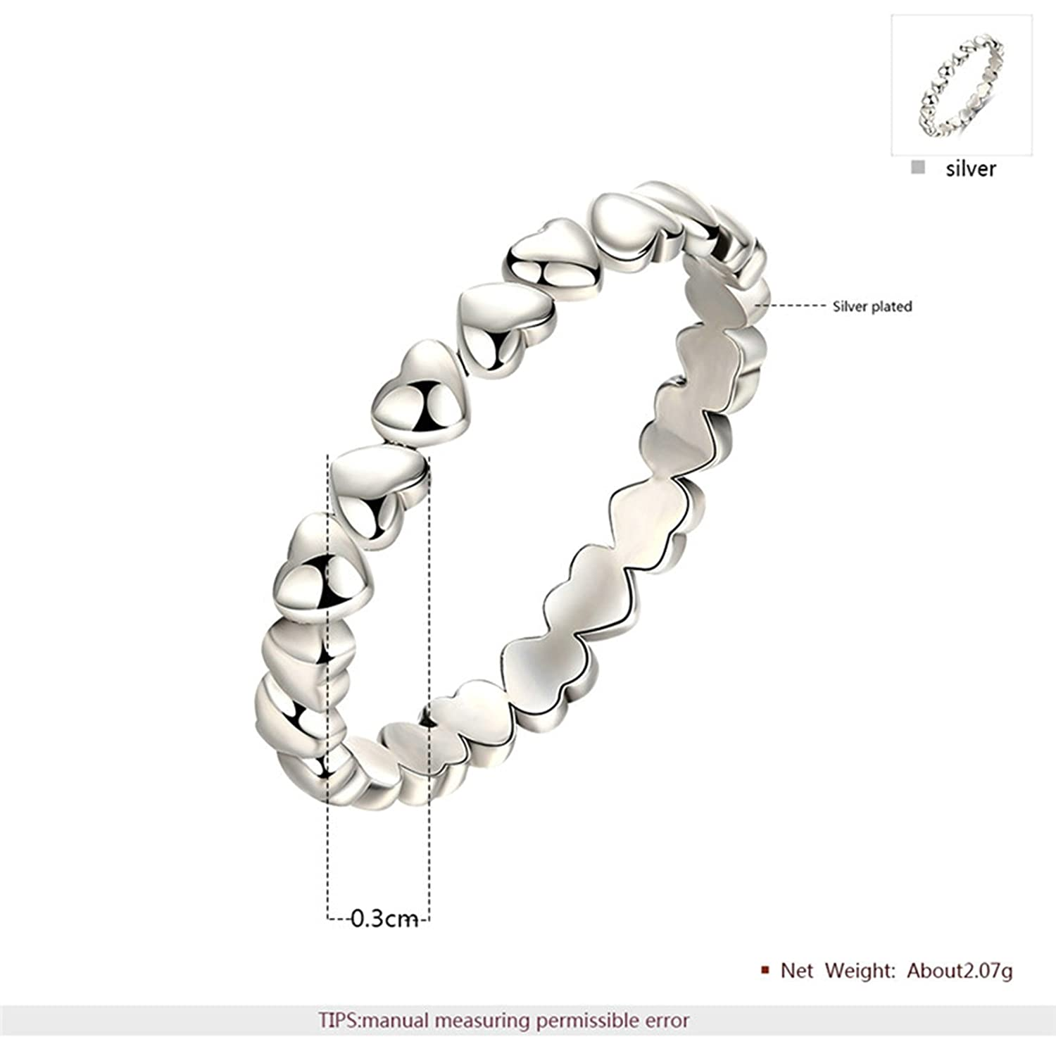 Bishilin Ring for Women Silver Plated High Gloss Polished Heart Wedding Engagement Ring Silver