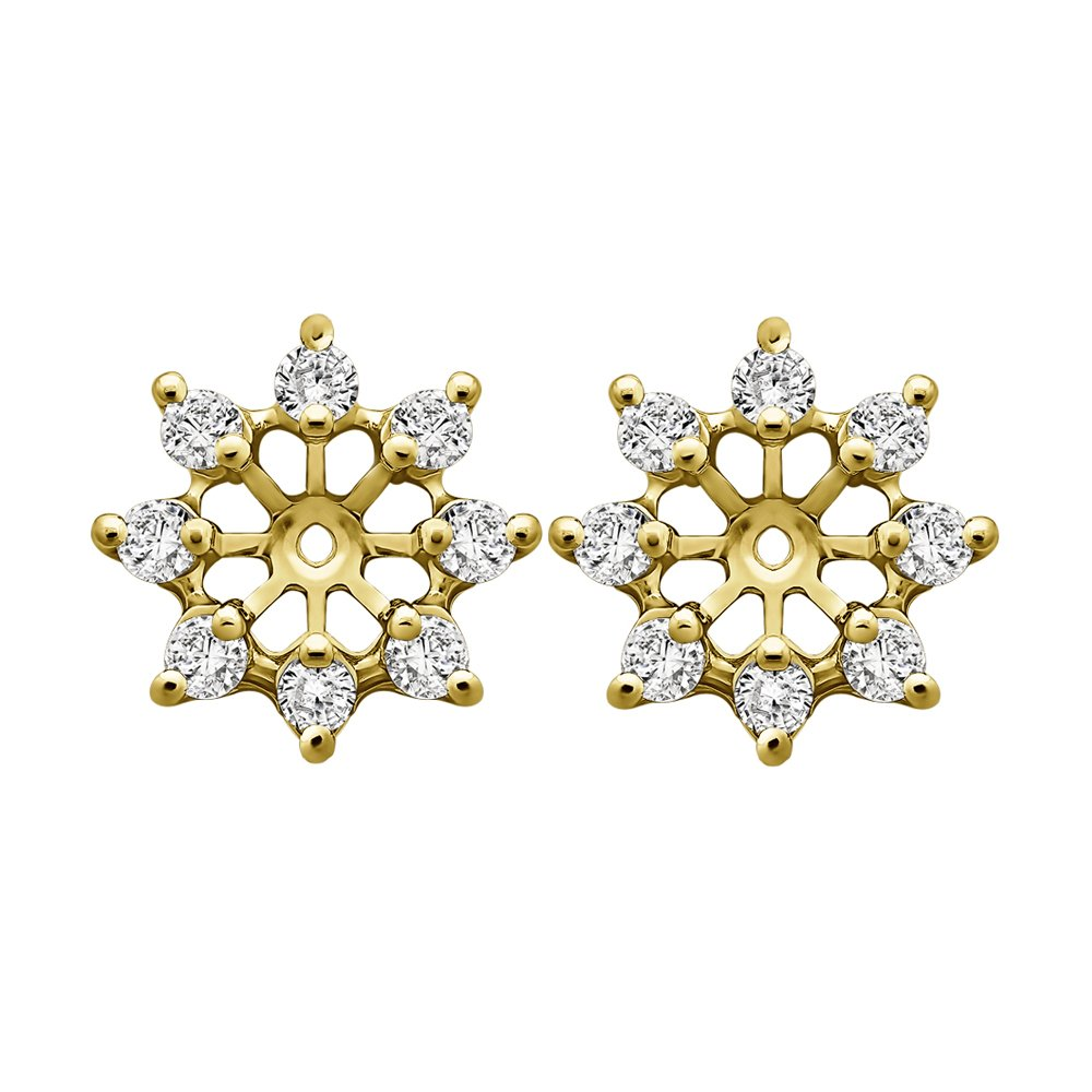 1/3 ct. Cubic Zirconia Star Shaped Stud Earring Jacket in Yellow Plated Sterling Silver (0.32 ct. twt.)