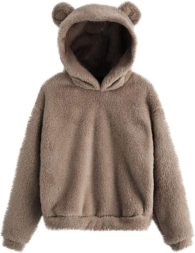 Damen Winter Teddy Fleece Pullover mit Kapuzen Katzenohren Sweatshirts Übergröße
