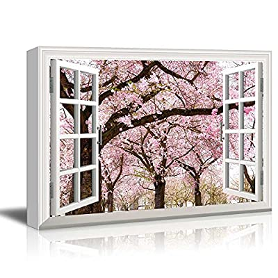 Beautiful Picture, Print Window Frame Style Wall Decor Pink Cherry Sakura Blossom in Spring Stretched, Made For You