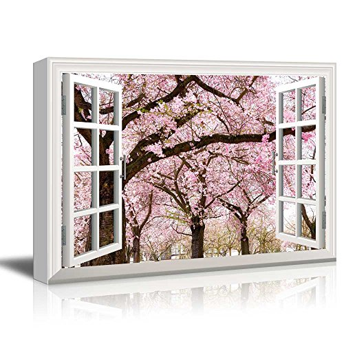 Canvas Print Wall Art - Window Frame Style Wall Decor - Pink Cherry/Sakura Blossom in Spring | Giclee Print Gallery Wrap Modern Home Decor. Stretched & Ready to Hang - ()
