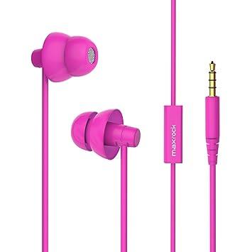 MAXROCK (TM) total silicona suave Auriculares In-Ear con micrófono para teléfonos móviles (rosa): Amazon.es: Electrónica