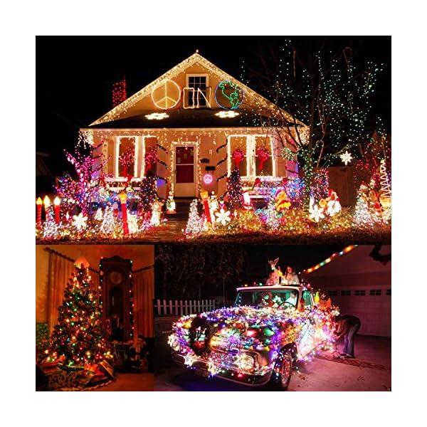 Qedertek Luci Albero di Natale, Catena Luminosa 20M 200 LED, Luci di Natale Esterno ed Interno, Filo verde scuro, Luci Colorate Addobbi Natalizi Esterno, Luci Natalizie da Esterno ed Interno 7 spesavip