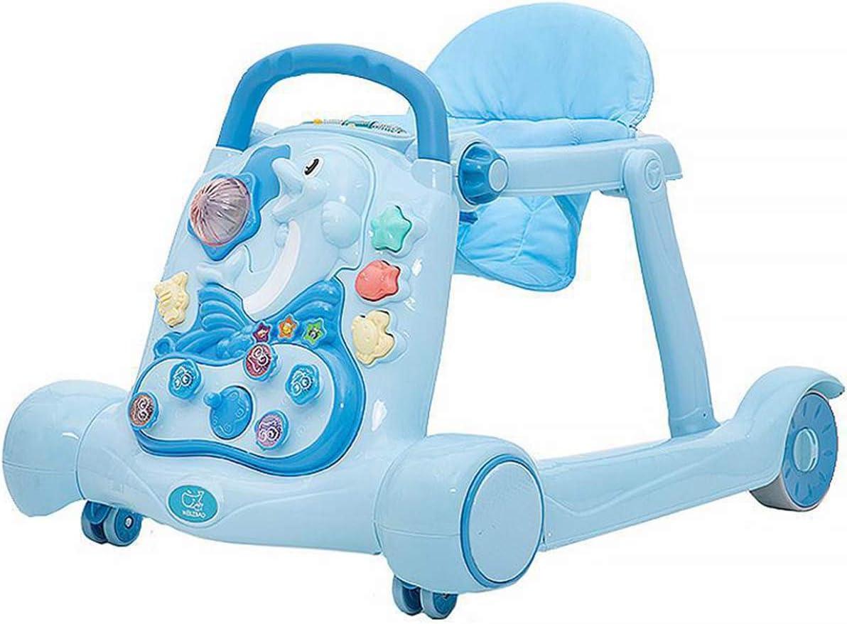 WBLin Andador Infantil con Patas tóricas multifunción antigiro niños, bebés, niñas y bebés Andador Plegable empujado a Mano