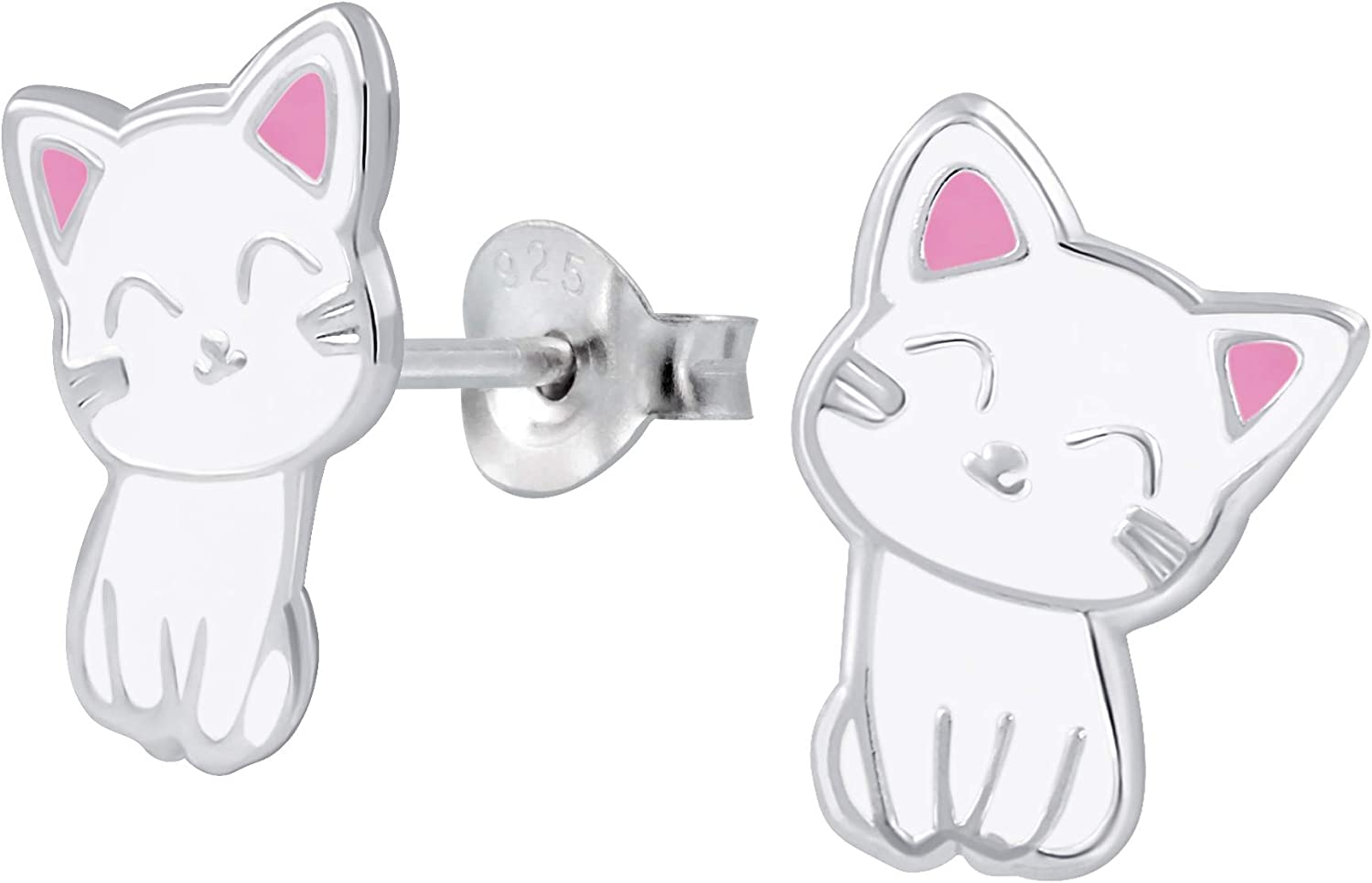 Hello Kitty Girl/'s Earrings Real .925 Sterling Silver Covered in Acrylic