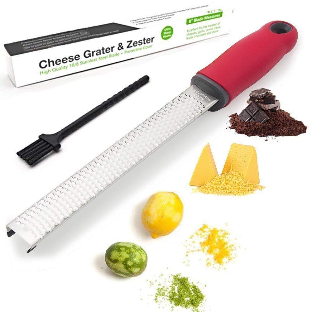 Citrus Lemon Zester & Cheese Grater — Parmesan Cheese, Lemon, Ginger, Garlic, Nutmeg, Chocolate, Vegetables, Fruits - Razor-Sharp Stainless Steel Blade + Protective Cover - Dishwasher Safe (Black) FDA