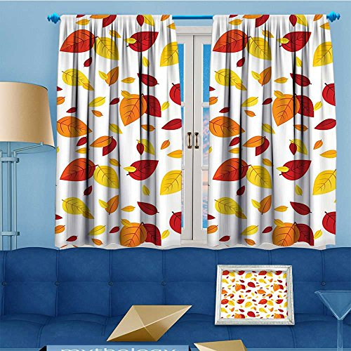 (AmaPark Print Woven Sateen Window Curtain,Leaves Fall Leaves On White Background Seasonal Design Red Orange Yellow Panel Pair with Top,108