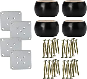 uxcell 1.5 inches Round Solid Wood Furniture Legs Sofa Bed Chair Bed Desk Cabinet Feet Leg Replacement Set of 4
