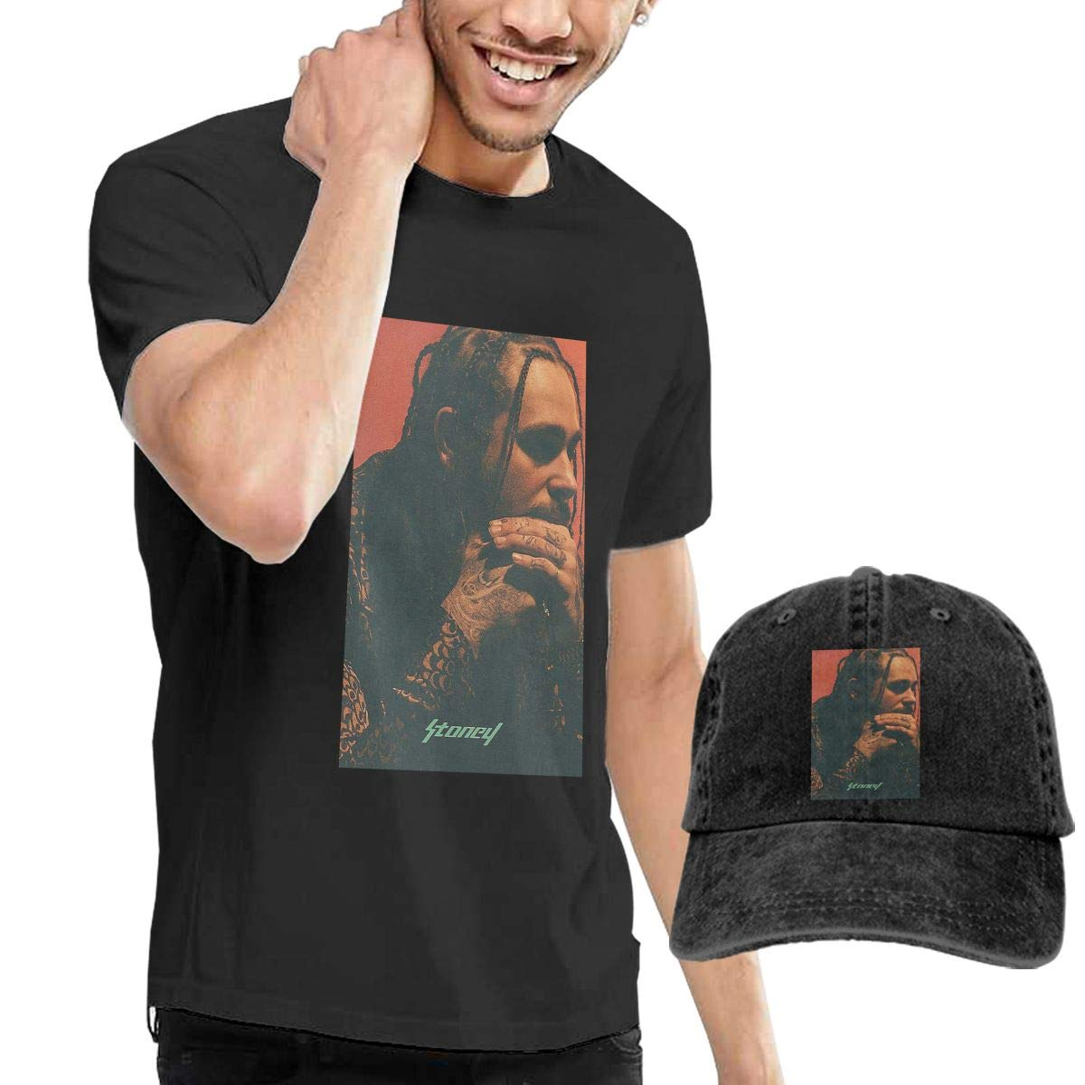 Mens Stoney Post Malone Tshirts and Washed Denim Hat Casquette Black