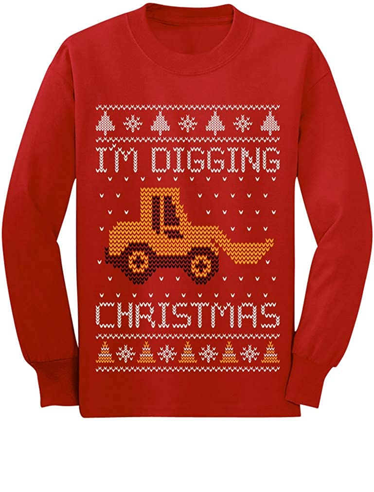 I'm Digging Christmas Ugly Sweater Tractor Toddler/Kids Long Sleeve T-Shirt GaMPhrMgC5