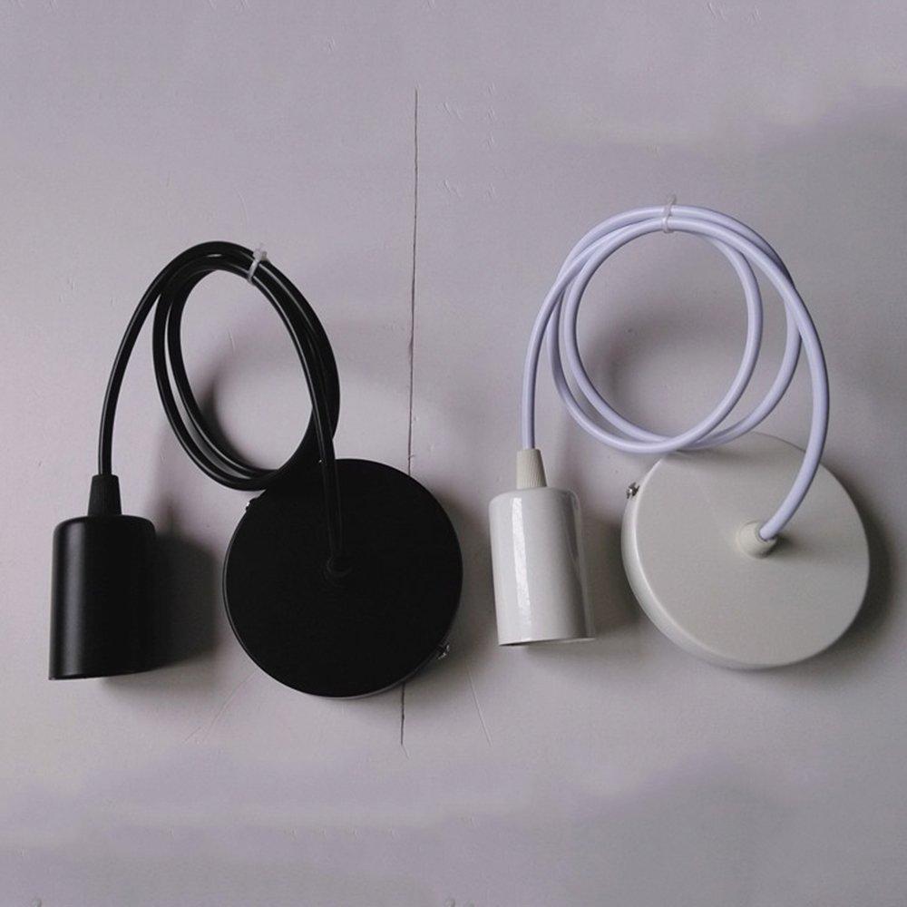 Huahan Extension 1M/3.28FT Industiral Edison Vintage Style One-light Socket Mini Pendant Light Fixture E26/E27 Base Adjustable rope White 1PC