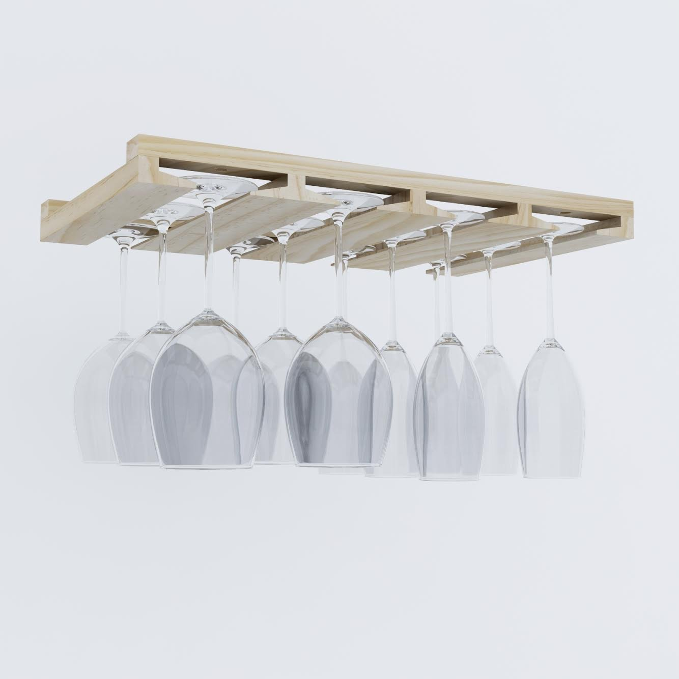 Natural Rustic State Stemware Wine Glass Rack Makes Dull Kitchens or Bar Looks Great Perfectly Fits 6-12 Glasses Under Cabinet Easy to Install with Included Screws Great Hanging Bar Glass Rack