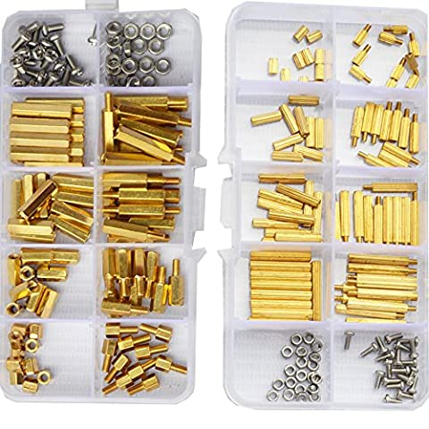 M2 M3 Male Female Brass Hex Standoff Spacer Bolt Stainless Steel Screw Nut Assortment Kit Motherboard 240Pcs - Brass Stainless Steel Nuts