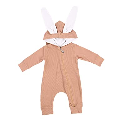 Carolilly Newborn Baby Easter Outfits Bunny Romper Polka Dot Short Sleeve Bodysuit
