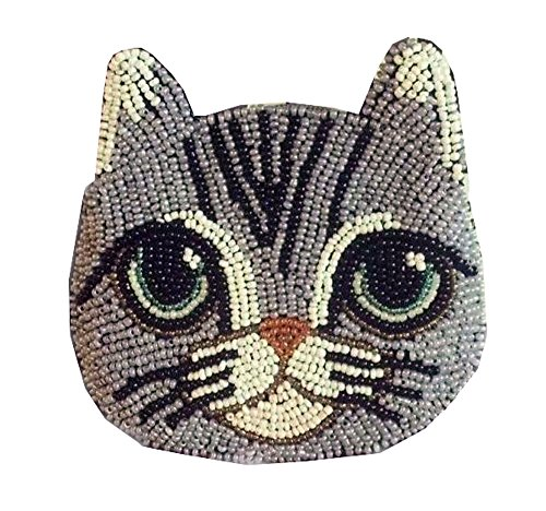 - Handmade Beaded Creative Cute Cats Coin Purse HandBag - Cat Expressions