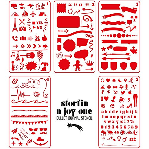 Storfin Bullet Stencils - Unique Design - Easy to Draw - 5 Pack Set - 4x7 Inch - 0.25mm Functional Journaling Supplies Notebook/Diary/Scrapbooking/Art Craft/Planner - DIY Drawing Template