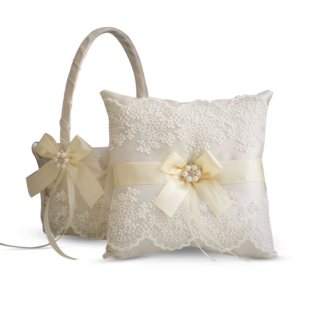 Alex Emotions Ivory Ring Bearer Pillow and Basket Set | Lace Collection | Flower Girl & Welcome Basket for Guest | Handmade Wedding Baskets & Pillows (Ivory)