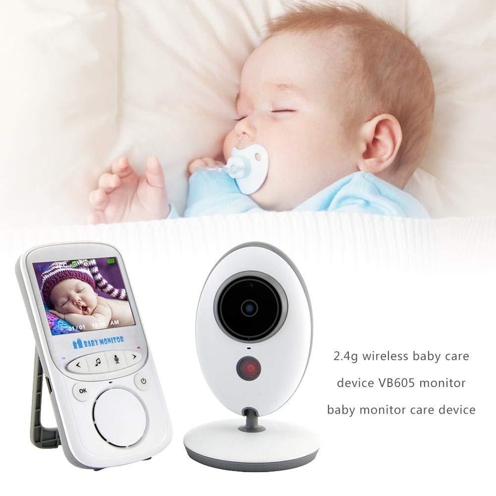 Sensor de Temperatura Dough.Q Vigilab/éb/é Inalambrico con LCD 2.4y C/ámara con Visi/ón Nocturna intercomunicador bidireccional Pantalla LCD TFT a Color con 8 Canciones de Cuna