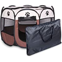 Portable Folding Pet Tent Dog House Octagonal Cage for Cat Tent Playpen Puppy Kennel Easy Operation Fence Outdoor Big…