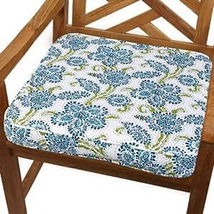 Mozaic Sabrina Corded Indoor/Outdoor Chair Cushion, 20-Inch, Aqua Floral