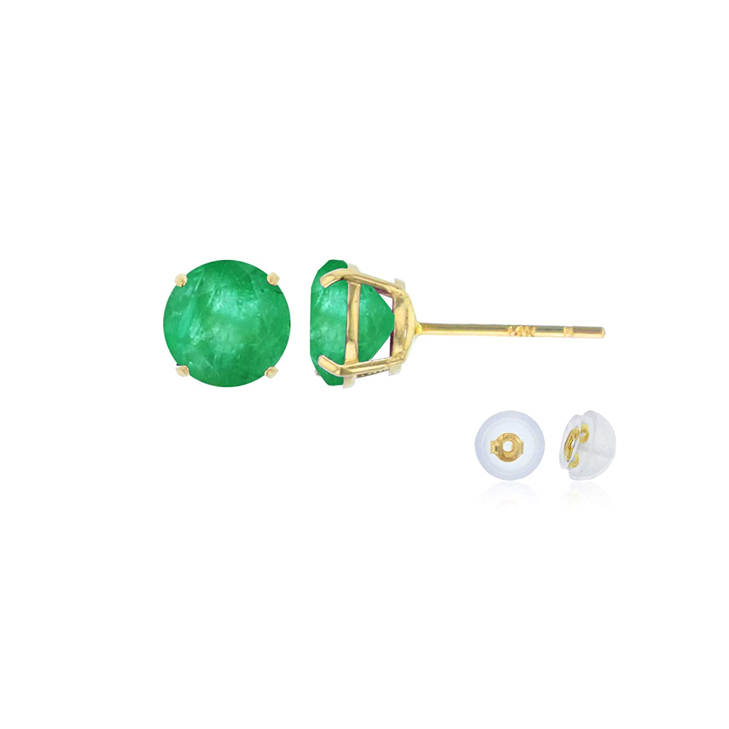 Gold Earrings For Women White or Rose Gold 4mm Round Genuine Gemstone Birthstone Stud Earrings Solid 14K Yellow Prong Set Natural Gemstones Solid Gold