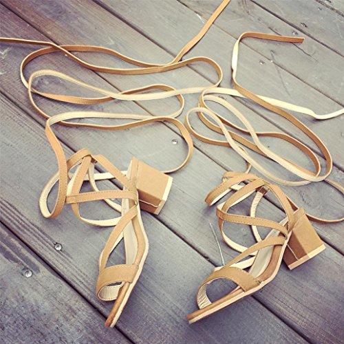 Sandals Lace Women's up Shoes Summer Xjp Khaki Wedges ntvYqpfw