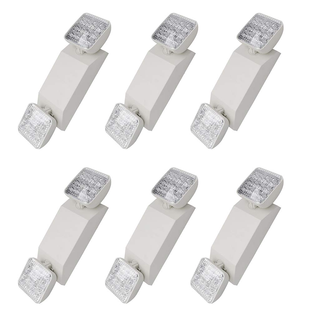 LED Emergency Light, Two Head LED Standard Light Hardwired Adjustable Lamp UL Certified - Pack of 6