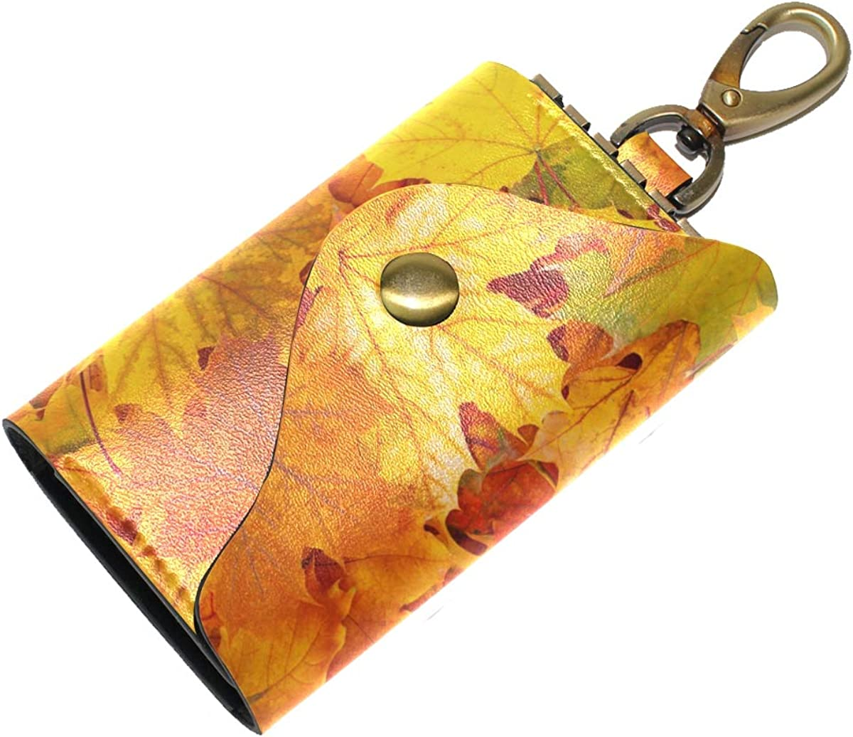 KEAKIA Late Autumn Leather Key Case Wallets Tri-fold Key Holder Keychains with 6 Hooks 2 Slot Snap Closure for Men Women