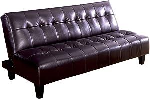 Belmod Espresso Belmont Leatherette Futon Sofa