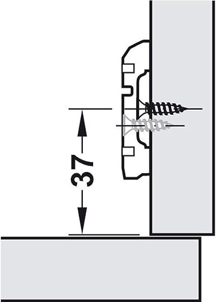 4 x Topfscharnier Metalla-Mini A 45° Möbelscharnier 26 mm Topf mit Kreuzplatte