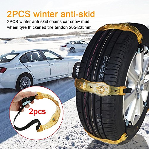 T-Trees NEW 2018 VERSION (2PCS ) Snow Chains Car Anti Slip Tire Chains Adjustable Anti-Skid Chains Car Tire Snow Chains Fits for Most Car/SUV/Truck- Width (205 Car)