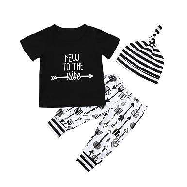 cdb0782963aae5 QinMM 3 Stücke Infant Baby Brief Mädchen Jungen Tops T-Shirt + Pants + Hut  Outfits Kleidung Set Sommer Niedlich Outfit Drucken Coole Mode Schwarz 6  Mt-24 ...