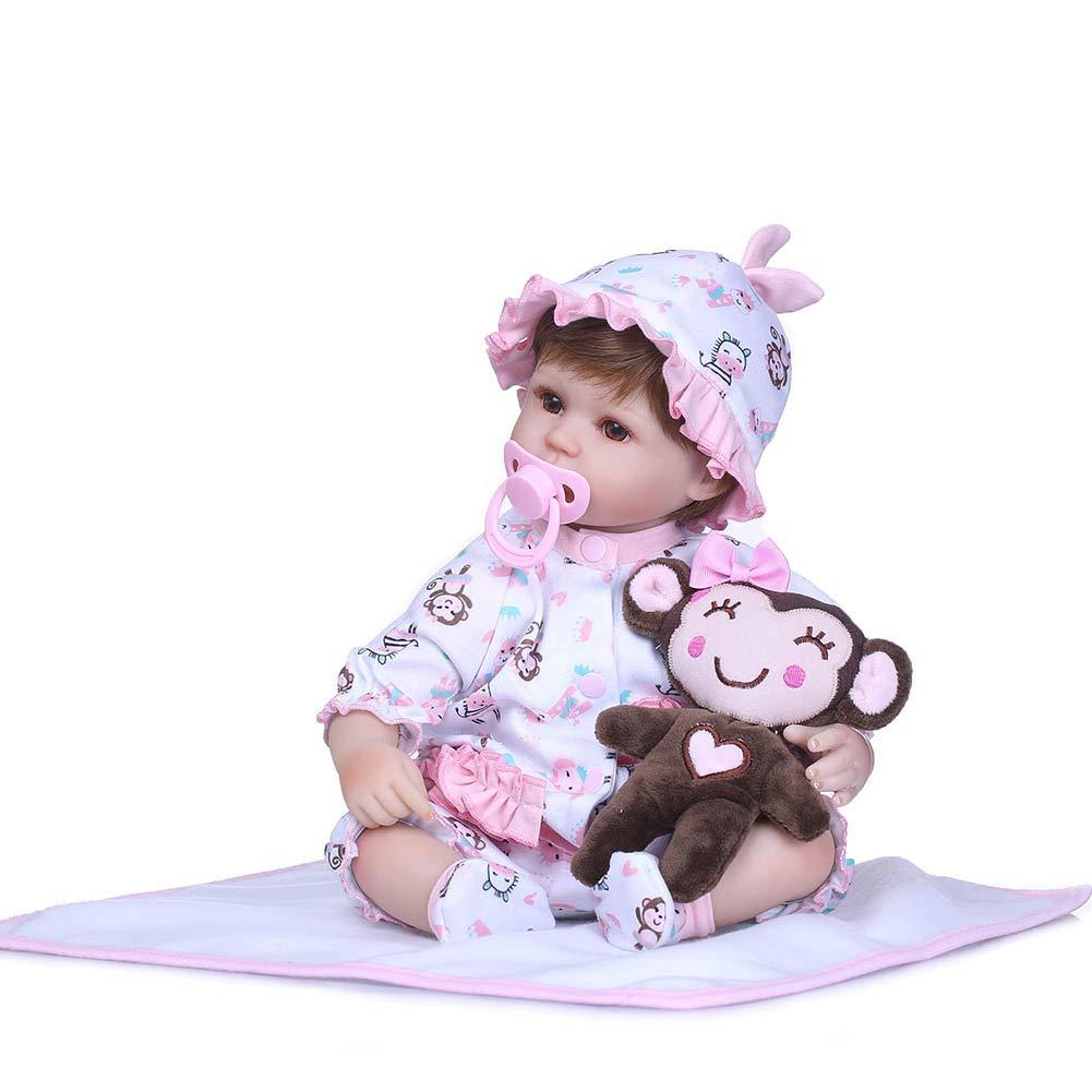 Alftek Giocattoli del Bambino della Bambola del Silicone congiunti realistici del Silicone 3D di 40cm rinati Giocattolo della Bambola del Bambino