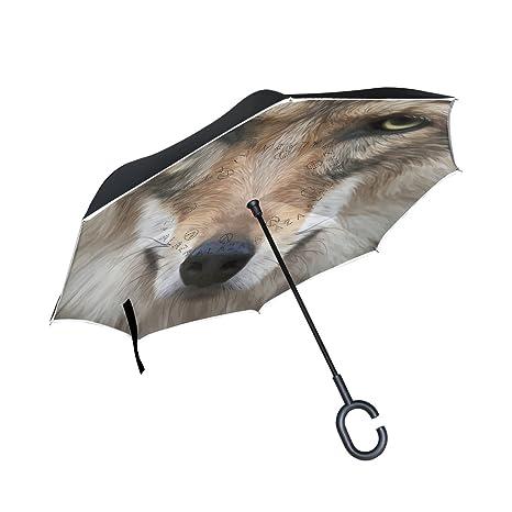 COOSUN Realista capa cara del perro del doble del diseño del paraguas invertido inversa para el