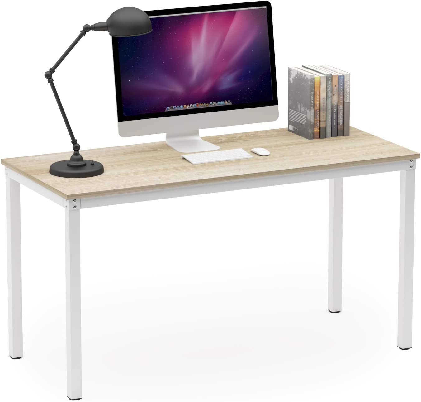"""Teraves Computer Desk/Dining Table Office Desk Sturdy Writing Workstation for Home Office (47.24"""", Beige + White Frame)"""