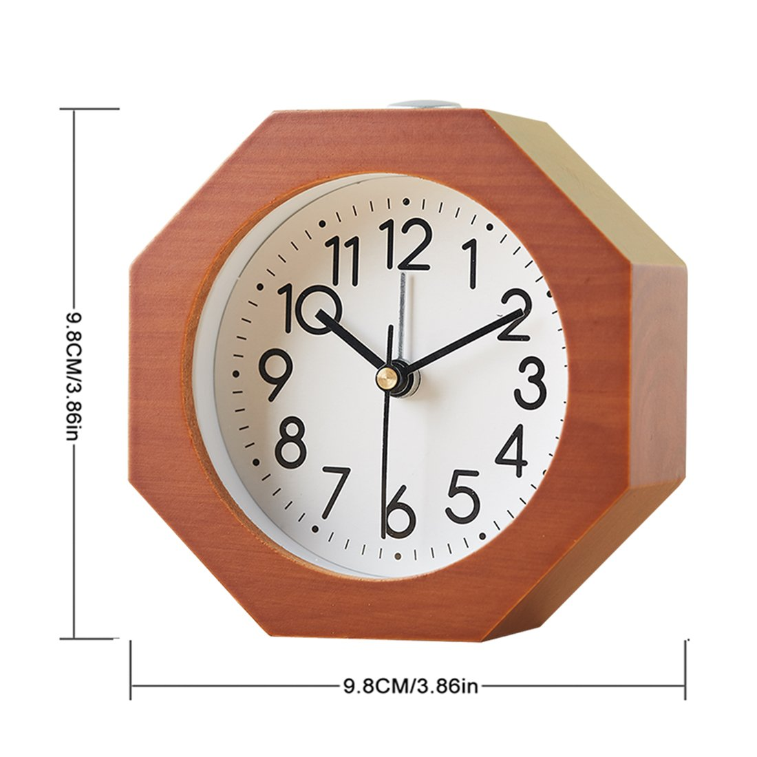 Jo332Bertram Analog Holz Wecker mit Snooze Leise Vintage Holz Tischuhr Ohne Ticken
