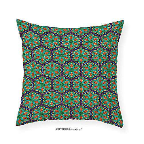 VROSELV Custom Cotton Linen Pillowcase Turquoise Spider Web Inspired floral Detailed Image on Blue Backdrop for Bedroom Living Room Dorm Fern Green Marigold and Navy Blue 18